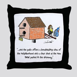 Flipping The Birdhouse Throw Pillow