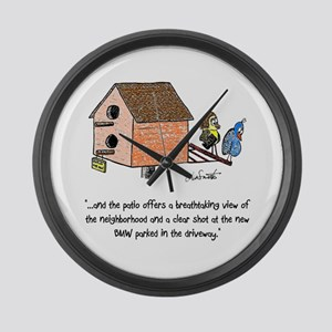 Flipping The Birdhouse Large Wall Clock