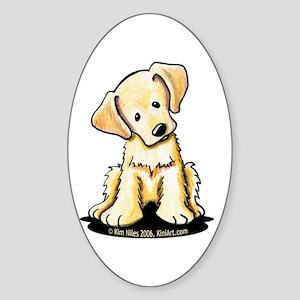 Lab Retriever Puppy Oval Sticker (10 pk)