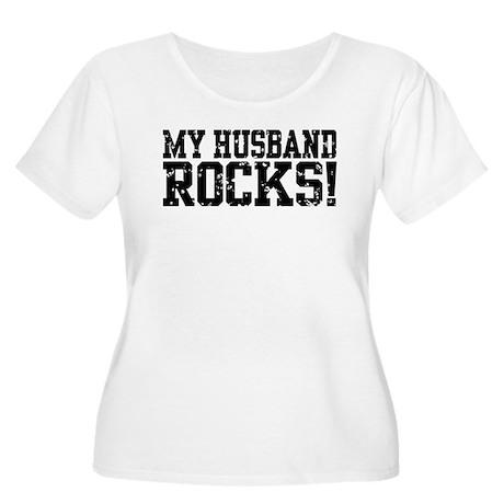 My Husband Rocks Women's Plus Size Scoop Neck T-Sh