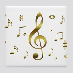 Music Gold Tile Coaster