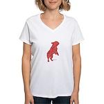 Red Word Silhouette (Beg) Women's V-Neck T-Shirt