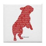 Red Word Silhouette (Beg) Tile Coaster