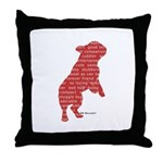 Red Word Silhouette (Beg) Throw Pillow