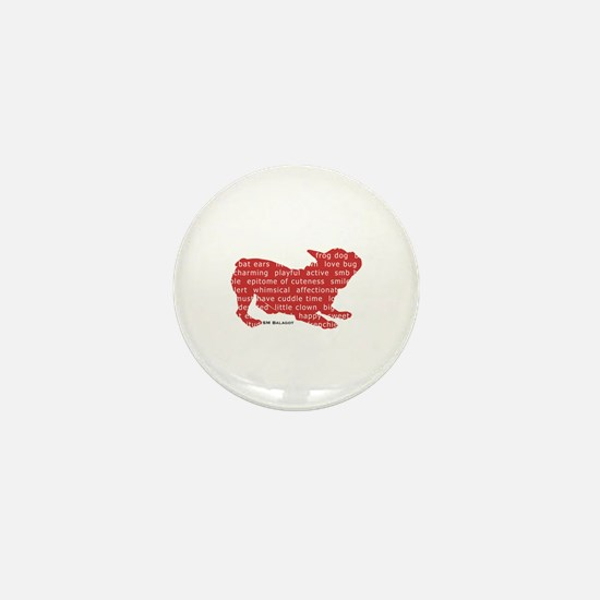 Red Word Silhouette (Play) Mini Button