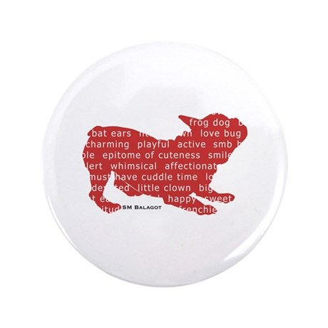 """Red Word Silhouette (Play) 3.5"""" Button"""