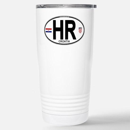 Croatia Euro Oval Stainless Steel Travel Mug