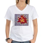 Drawing Sun in A Checkerboard Women's V-Neck T-Shi