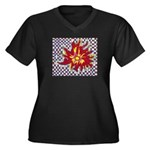 Drawing Sun in A Checkerboard Women's Plus Size V-