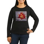 Drawing Sun in A Checkerboard Women's Long Sleeve