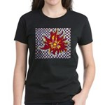 Drawing Sun in A Checkerboard Women's Dark T-Shirt