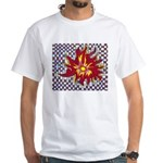 Drawing Sun in A Checkerboard White T-Shirt