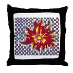 Drawing Sun in A Checkerboard Throw Pillow