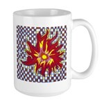 Drawing Sun in A Checkerboard Large Mug