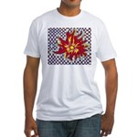 Drawing Sun in A Checkerboard Fitted T-Shirt