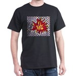Drawing Sun in A Checkerboard Dark T-Shirt
