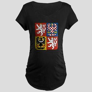 Czech Coat of Arms (Front) Maternity Dark T-Shirt