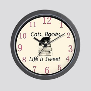 Cat on Books Wall Clock