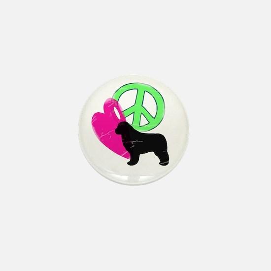 Peace Love & Newfies Mini Button
