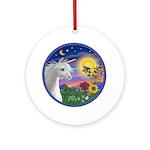 Unicorn & Blue Bird (round) Round Ornament