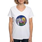 Unicorn & Blue Bird Women's V-Neck T-Shirt