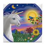 Unicorn & Blue Bird Tile Coaster