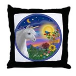 Unicorn & Blue Bird Throw Pillow