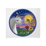 Unicorn & Blue Bird Throw Blanket