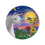 "Unicorn & Blue Bird 3.5"" Button (100 Pack"