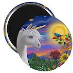 "Unicorn & Blue Bird 2.25"" Magnet (10 pack"