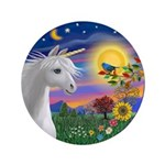 "Unicorn & Blue Bird 3.5"" Button"