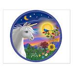 Unicorn & Blue Bird Small Poster