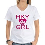 HKY GRL Women's V-Neck T-Shirt