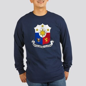 Philippines Coat of Arms (Front) Long Sleeve Dark