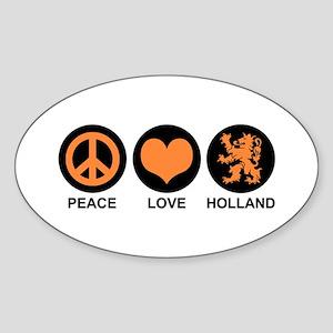 Peace Love Holland Oval Sticker