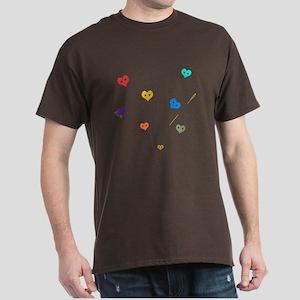 Hearts buttons - Dark T-Shirt
