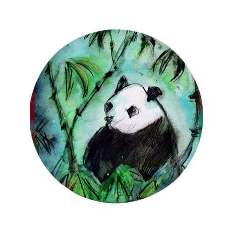 """Panda with Bamboo 3.5"""" Button (100 pack)"""