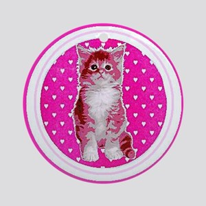 Pink Kitten Ornament Car Round