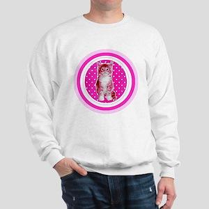 Adorable Pink Kitten Ladies Sweatshirt