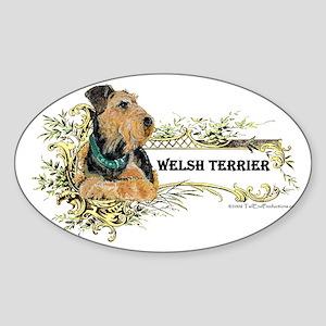 Vintage Welsh Terrier Oval Sticker