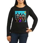 Women's Long Sleeve Brown T-Shirt-Bus Stop