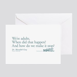 We're Adults - Grey's Anatomy Quote Greeting Card