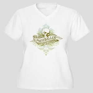 Paintballer Skull Women's Plus Size V-Neck T-Shirt