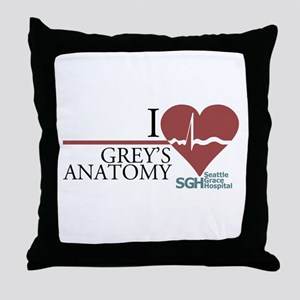 I Heart Grey's Anatomy Throw Pillow