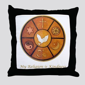 "Interfaith ""My Religion is Kindness"" Throw Pillow"