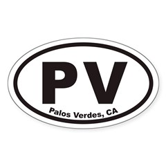 Palos Verdes PV Euro Oval Decal
