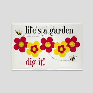 Life's A Garden Rectangle Magnet