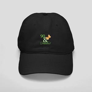 90 & Fabulous Birthday Black Cap