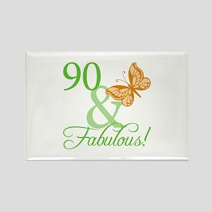 90 & Fabulous Birthday Rectangle Magnet