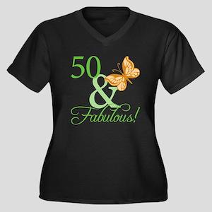 50 & Fabulous Birthday Women's Plus Size V-Neck Da